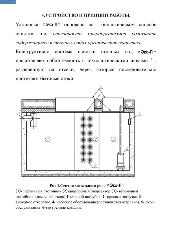 Описание септика Эко-л. Страница 5