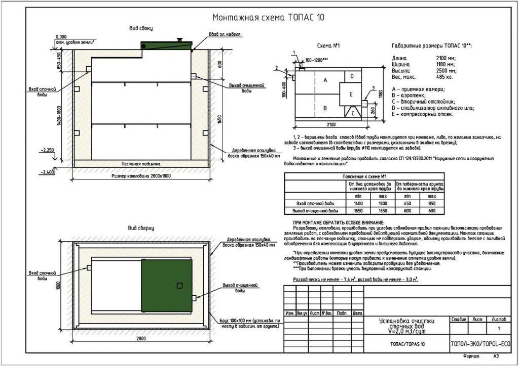 Схема монтажа септика Топас 10