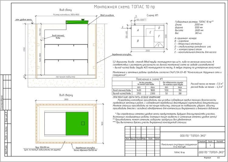 Схема монтажа септика Топас 10 ПР