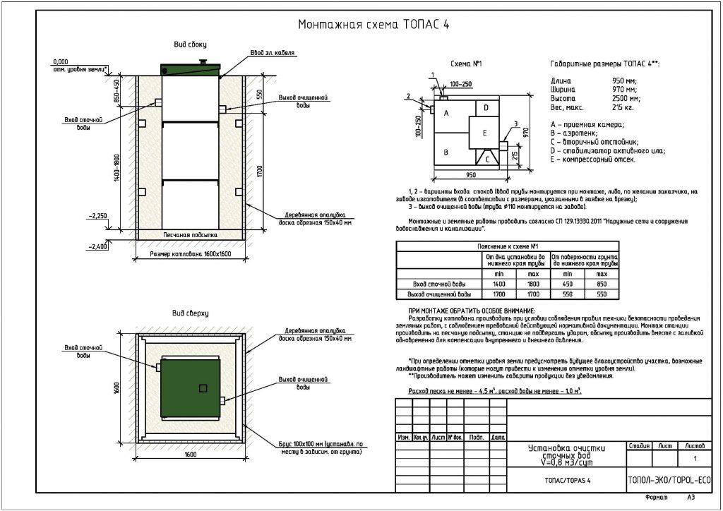 Схема монтажа септика Топас 4