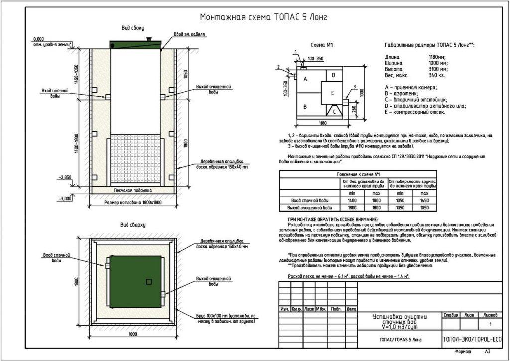 Схема монтажа септика Топас 5лонг