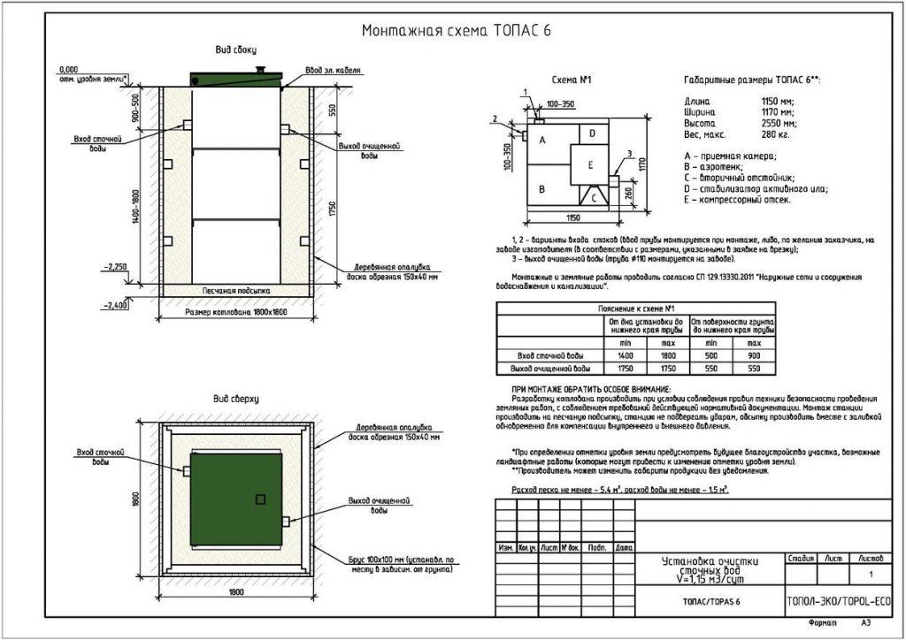 Схема монтажа септика Топас 6