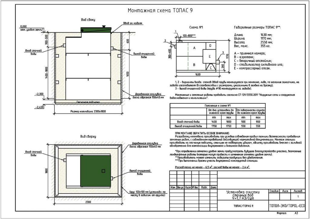 Схема монтажа септика Топас 9